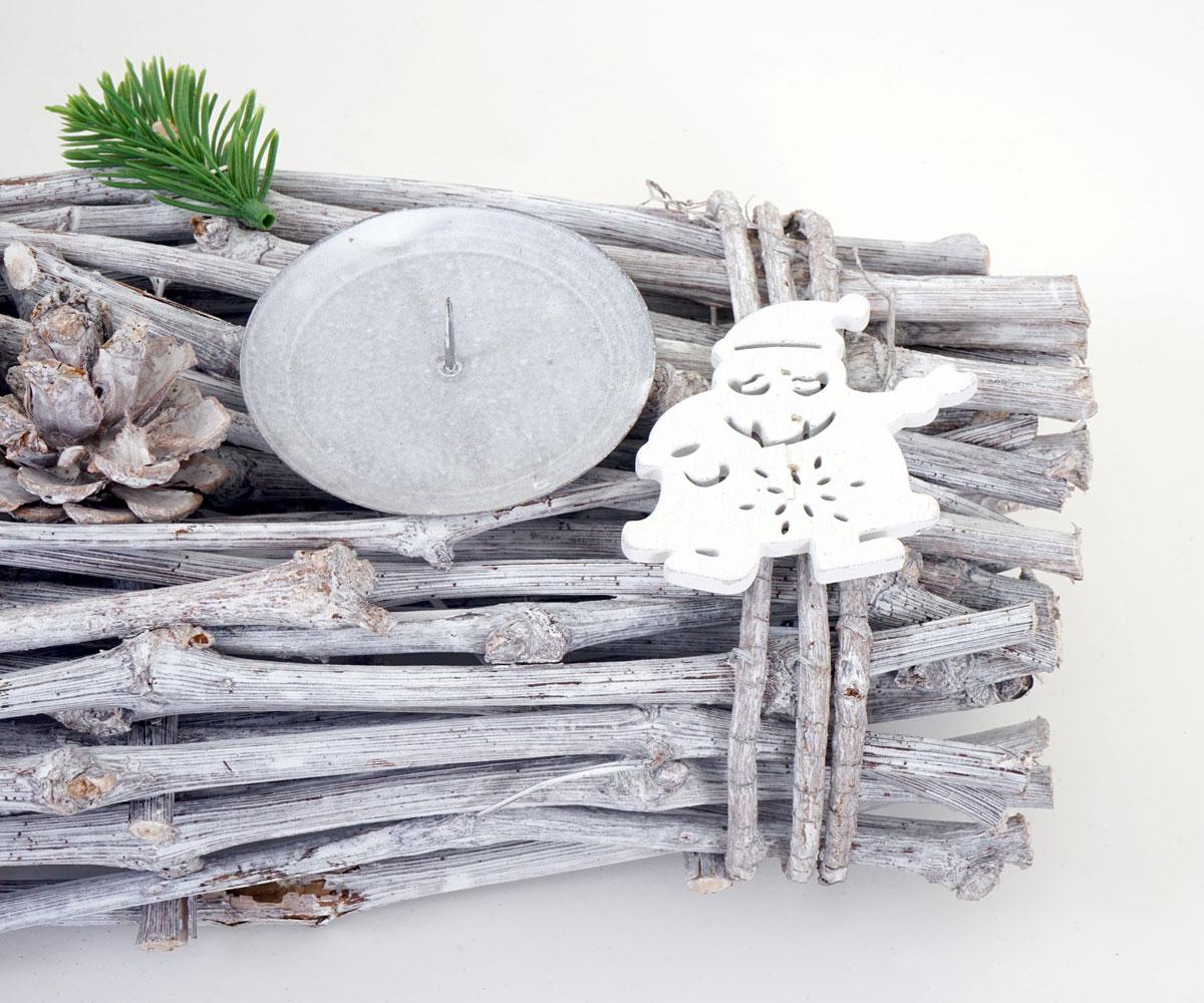 Holz 60x16x9cm weiß-grau Adventskranz länglich Weihnachtsdeko Adventsgesteck