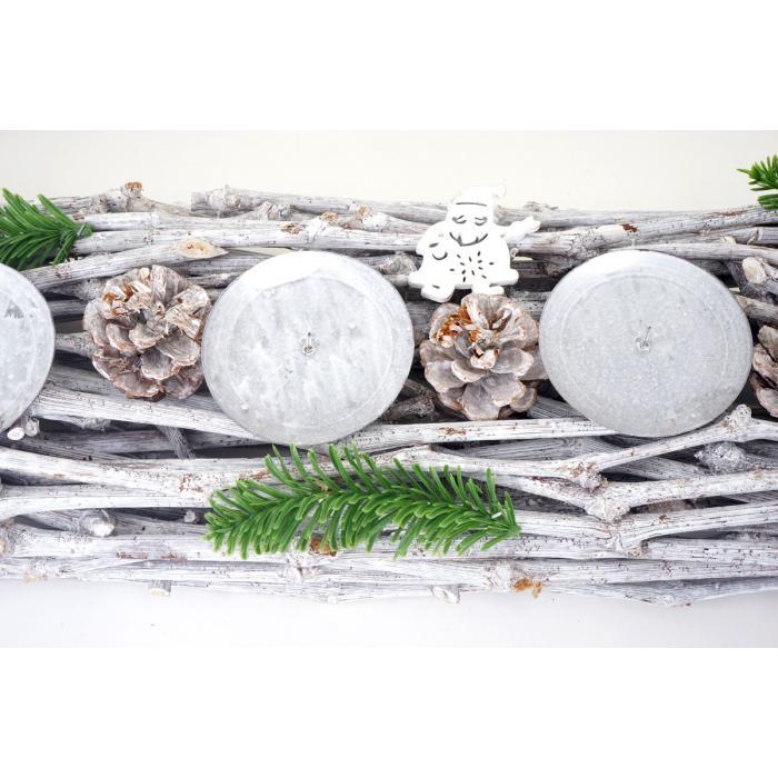 adventskranz l nglich weihnachtsdeko adventsgesteck holz 60x16x9cm wei grau ohne kerzen. Black Bedroom Furniture Sets. Home Design Ideas