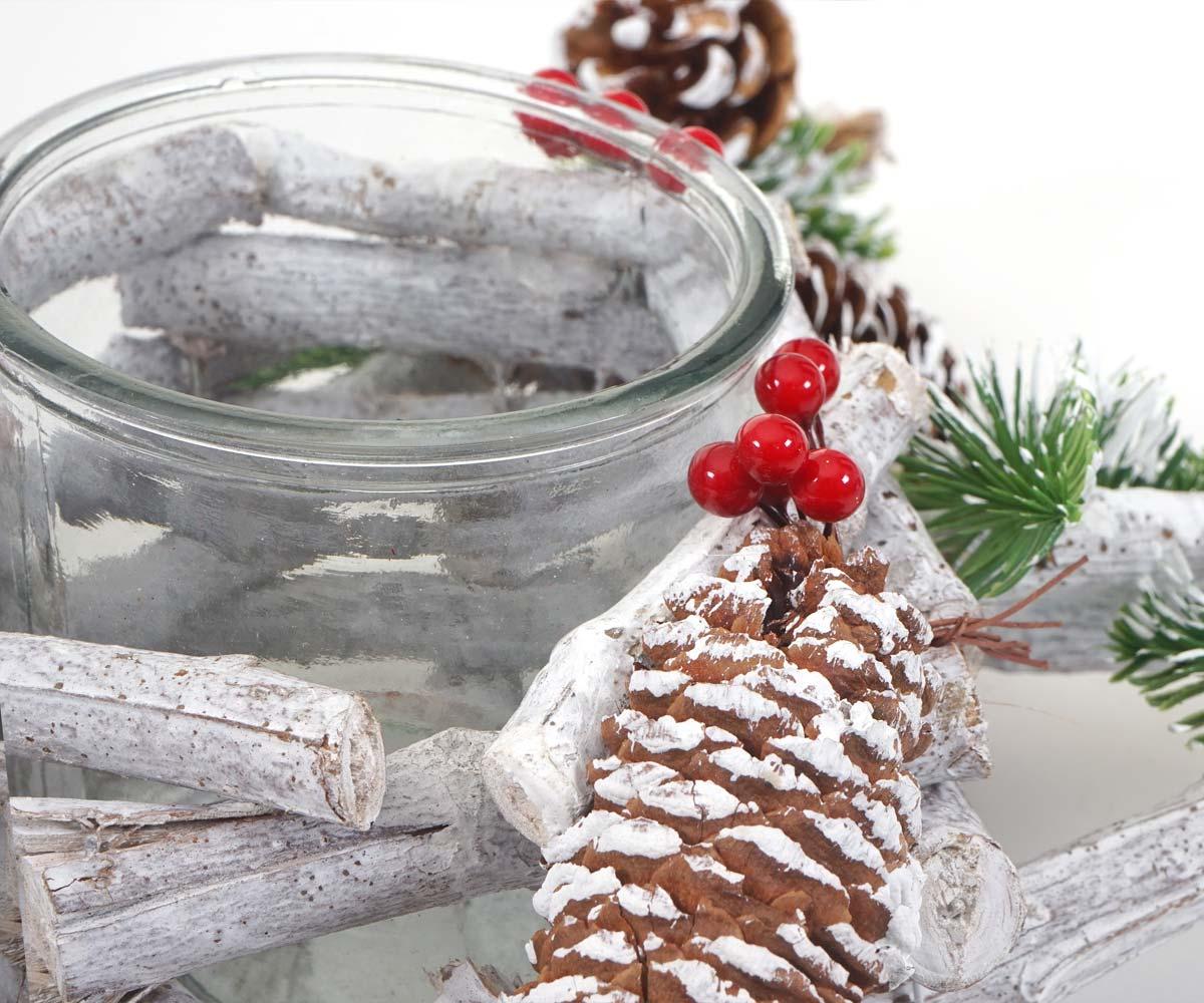 Adventskranz Stern Weihnachtsdeko Tischdeko Holz Mit Kerzenglas