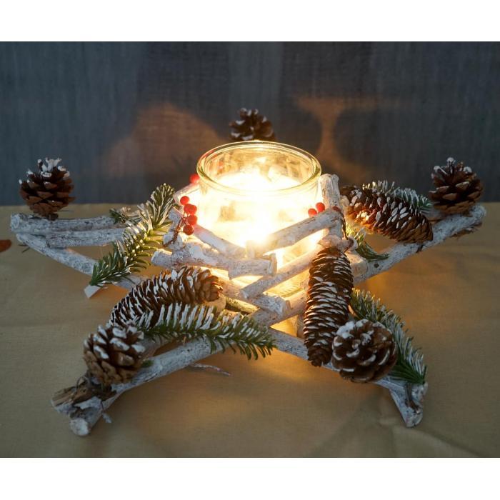 Stern, Weihnachtsdeko Tischdeko, Holz Mit Kerzenglas 40X40X12Cm