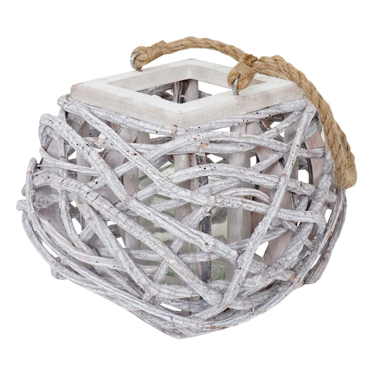 Hängelaterne 40cm, Windlicht Kerzenhalter mit Glaseinsatz 8cm, weiß-grau