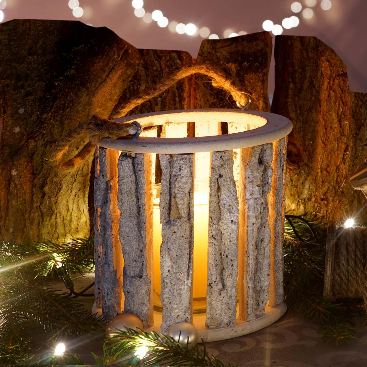 Hängelaterne 36cm, Windlicht Kerzenhalter mit Glaseinsatz 10cm, weiß-grau