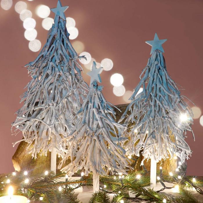 3er Set Dekobäume, S+M+L Weihnachtsbaum Christbaum Dekotanne 60/28 ...
