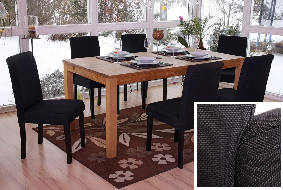 Set 6x sedie Littau tessuto per sala da pranzo 43x56x90cm colore a ...