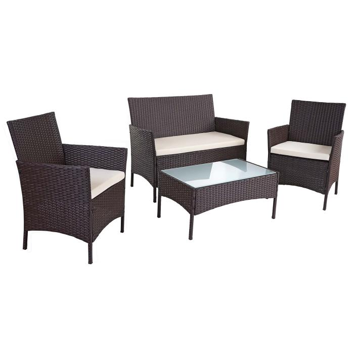 2 1 1 poly rattan garten garnitur hwc b21 sitzgruppe. Black Bedroom Furniture Sets. Home Design Ideas