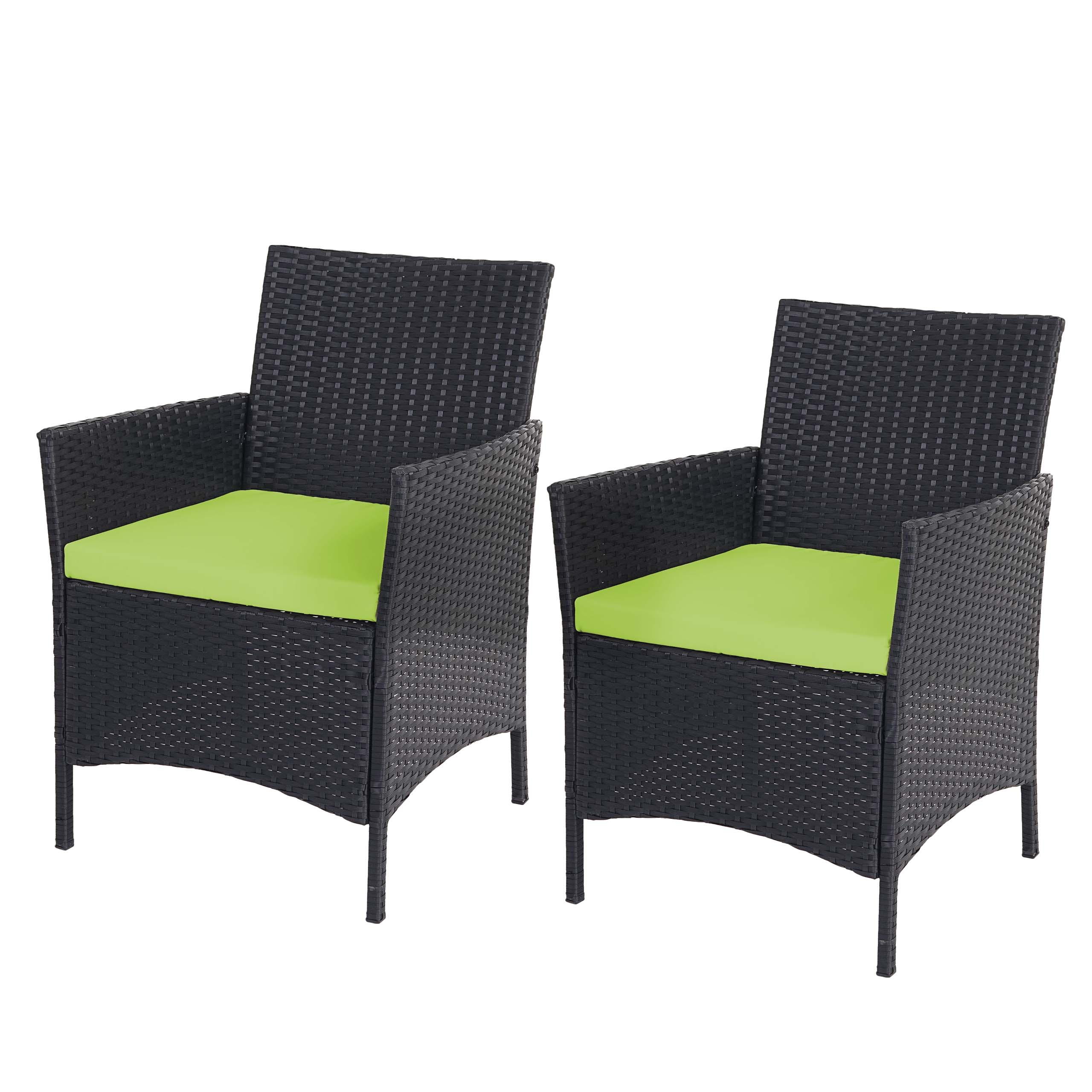 2x poly rattan gartensessel halden korbsessel anthrazit kissen gr n. Black Bedroom Furniture Sets. Home Design Ideas
