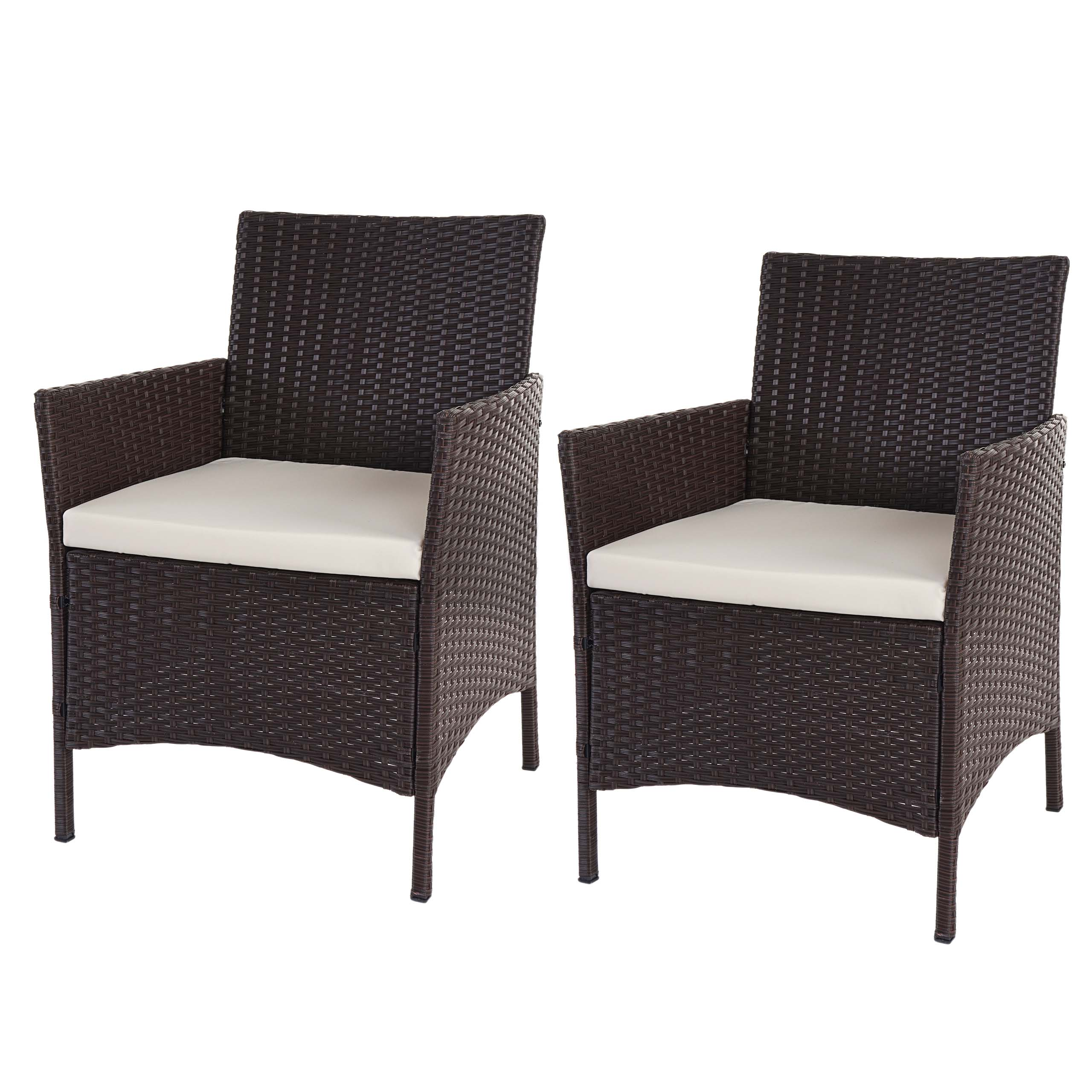 2x poly rattan gartensessel halden korbsessel braun meliert kissen creme. Black Bedroom Furniture Sets. Home Design Ideas
