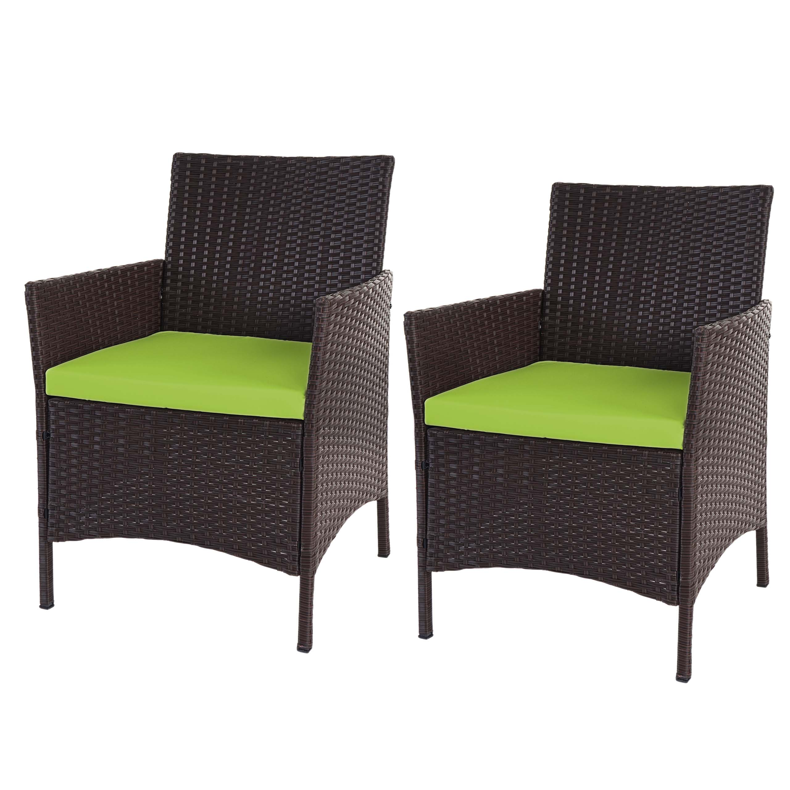 2x poly rattan gartensessel halden korbsessel braun meliert kissen gr n. Black Bedroom Furniture Sets. Home Design Ideas