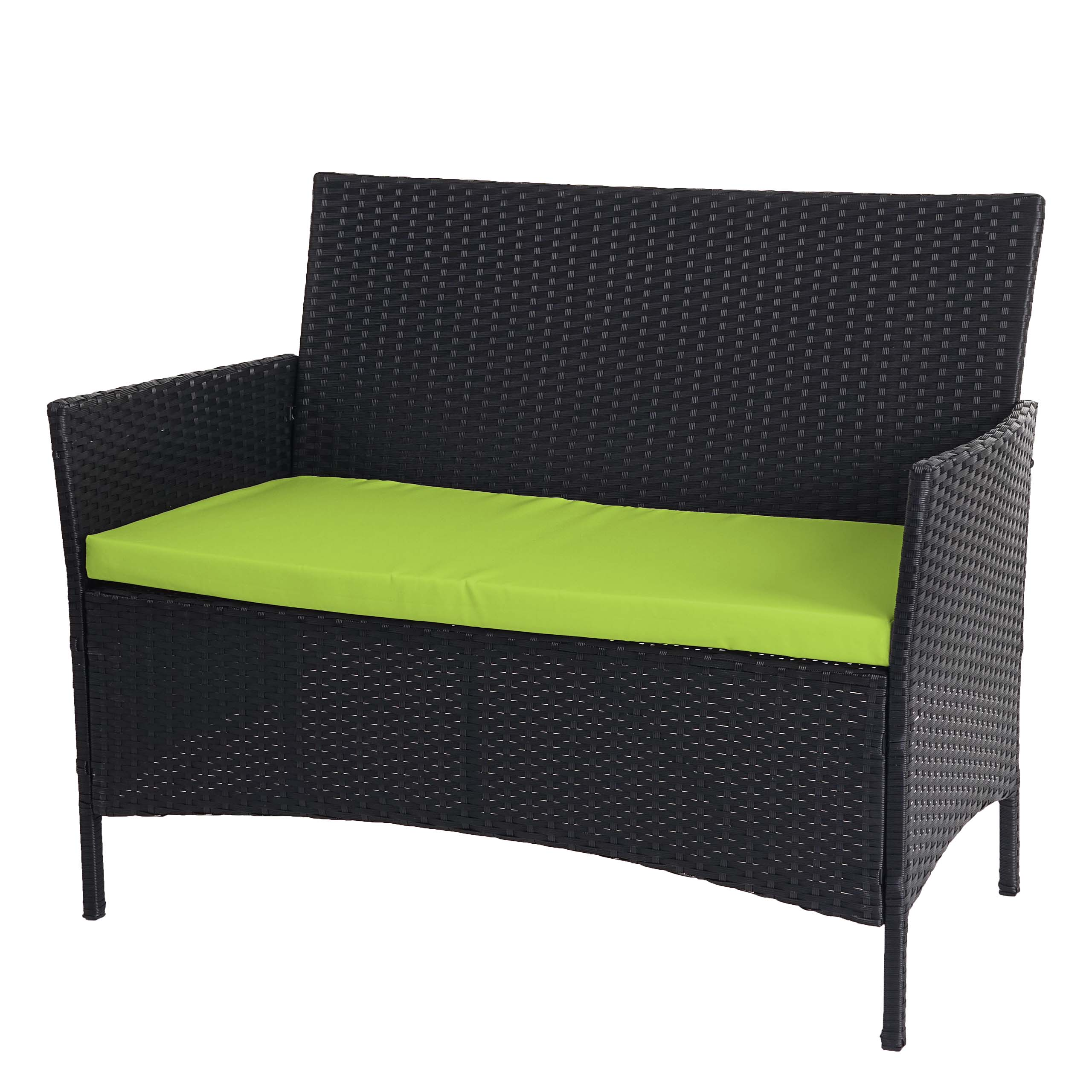 poly rattan gartenbank halden sitzbank bank anthrazit kissen gr n. Black Bedroom Furniture Sets. Home Design Ideas