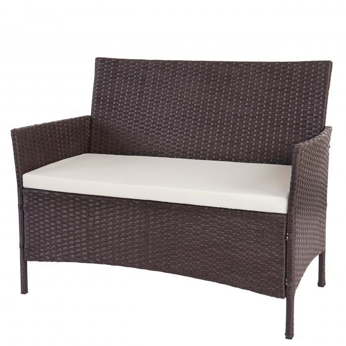 b ware poly rattan gartenbank halden sitzbank bank braun meliert kissen creme. Black Bedroom Furniture Sets. Home Design Ideas