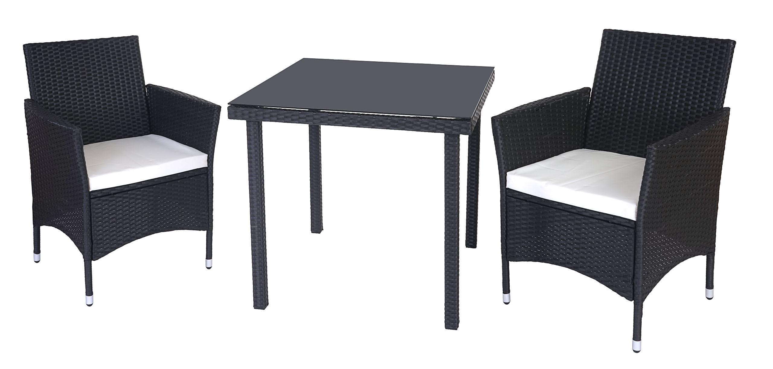 poly rattan garten garnitur modica 2x sessel sitzkissen tisch mit glasplatte ebay. Black Bedroom Furniture Sets. Home Design Ideas