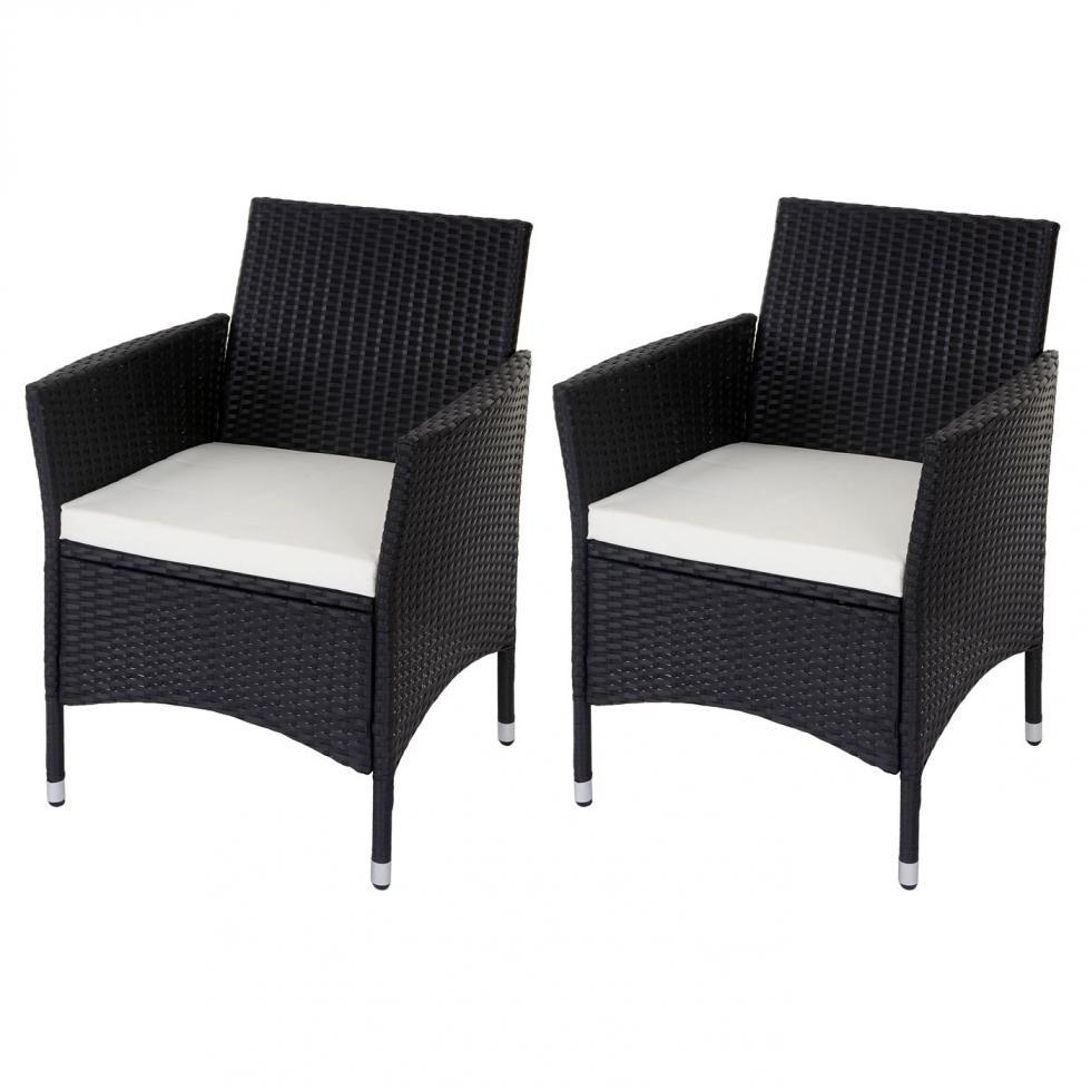 2x poly rattan korbstuhl manduria sessel mit sitzkissen anthrazit ebay. Black Bedroom Furniture Sets. Home Design Ideas