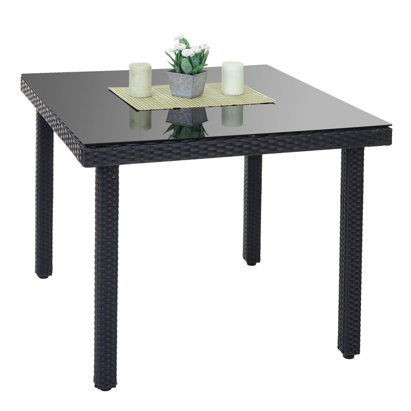 poly rattan gartentisch cava esstisch tisch mit glasplatte 90x90x74cm ebay. Black Bedroom Furniture Sets. Home Design Ideas