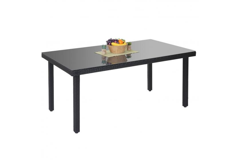 Poly Rattan Gartentisch Cava Esstisch Tisch Mit Glasplatte