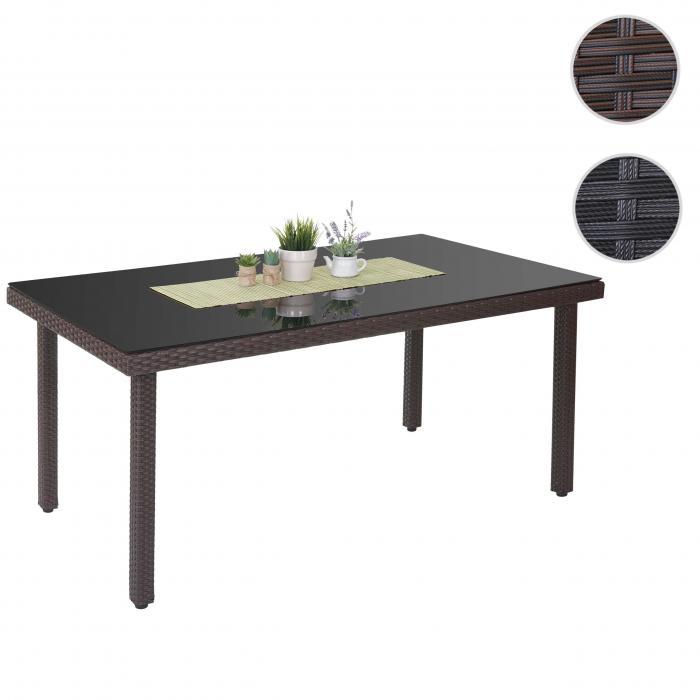 poly rattan gartentisch cava esstisch tisch mit glasplatte 160x90x74cm braun. Black Bedroom Furniture Sets. Home Design Ideas