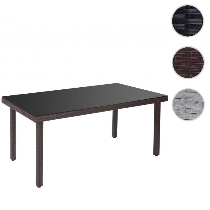 Polyrattan Tisch Mit Glasplatte.Poly Rattan Gartentisch Cava Esstisch Tisch Mit Glasplatte 160x90x74cm Braun