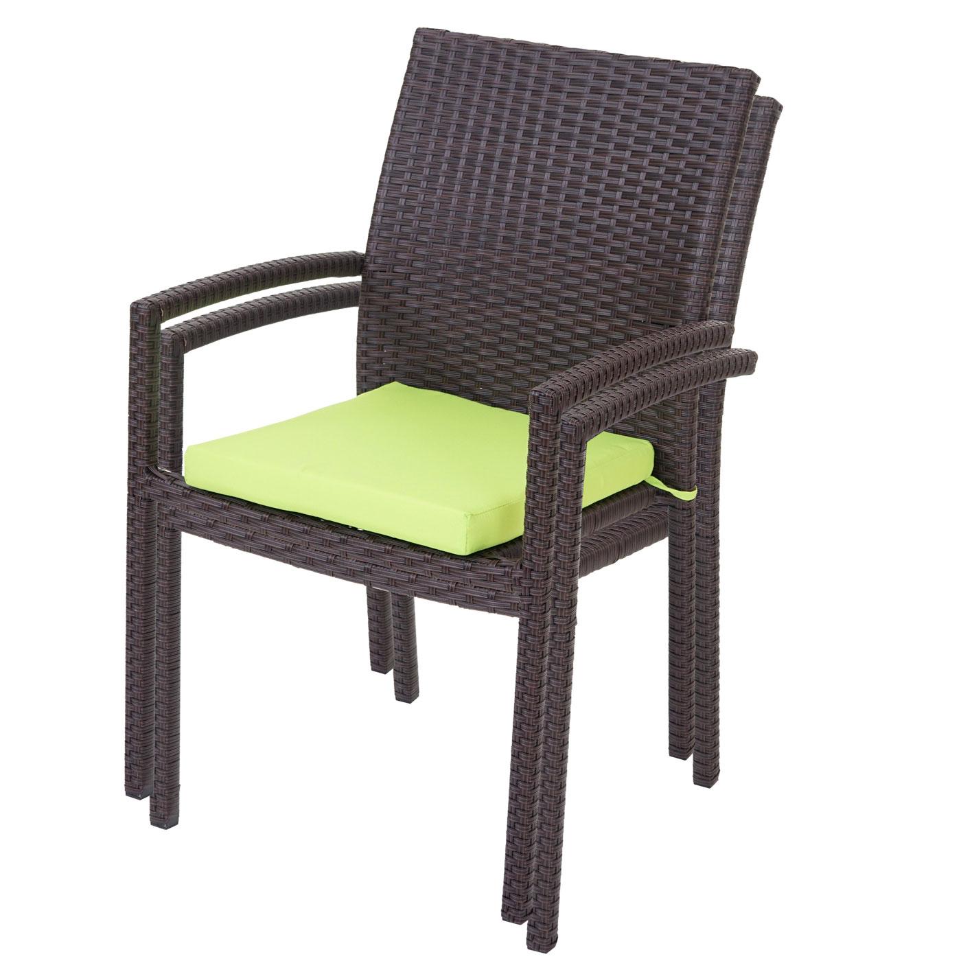B-Ware  1x Poly-Rattan Gartenstuhl Cava, Stapelstuhl inkl. Sitzkissen ~ braun, Kissen grün