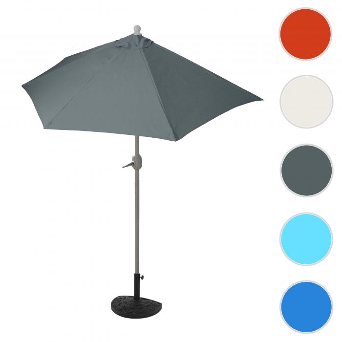 sonnenschirm halbrund parla halbschirm balkonschirm uv 50 polyester stahl 3kg 270cm. Black Bedroom Furniture Sets. Home Design Ideas
