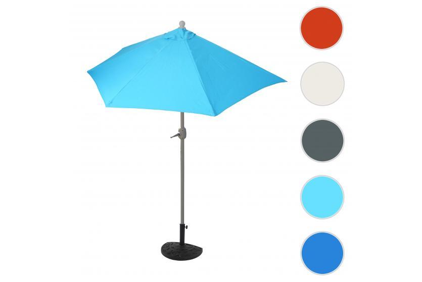 sonnenschirm halbrund parla halbschirm balkonschirm uv 50 polyester alu 3kg 270cm t rkis. Black Bedroom Furniture Sets. Home Design Ideas