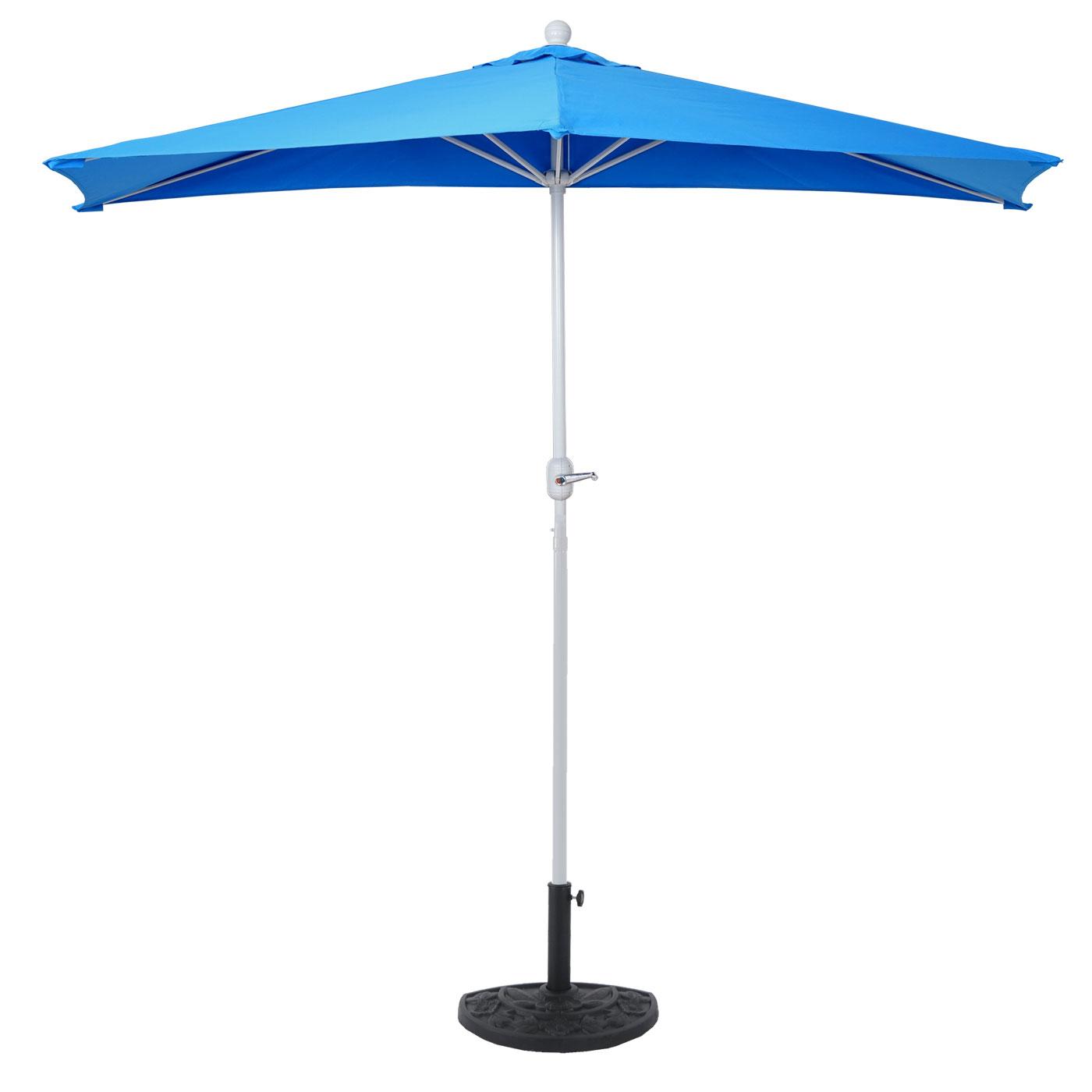 alu sonnenschirm halbrund parla halbschirm balkonschirm uv 50 270cm blau mit st nder. Black Bedroom Furniture Sets. Home Design Ideas