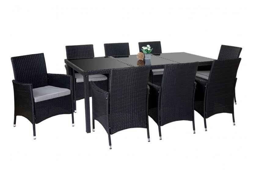 poly rattan garnitur terni garten sitzgruppe tisch 8 sessel alu anthrazit kissen hellgrau. Black Bedroom Furniture Sets. Home Design Ideas