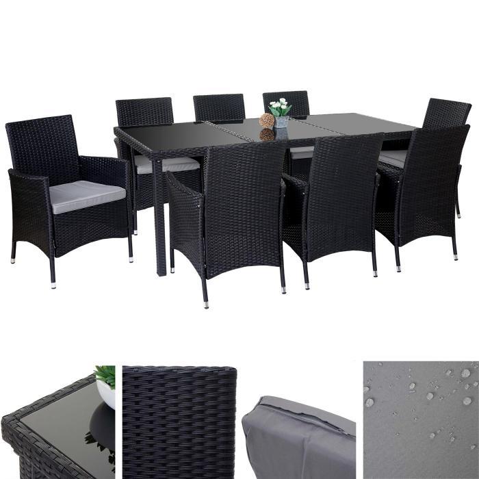 Poly Rattan Garnitur Terni, Garten Sitzgruppe Tisch + 8 Sessel, Alu ~  Anthrazit, Kissen Hellgrau
