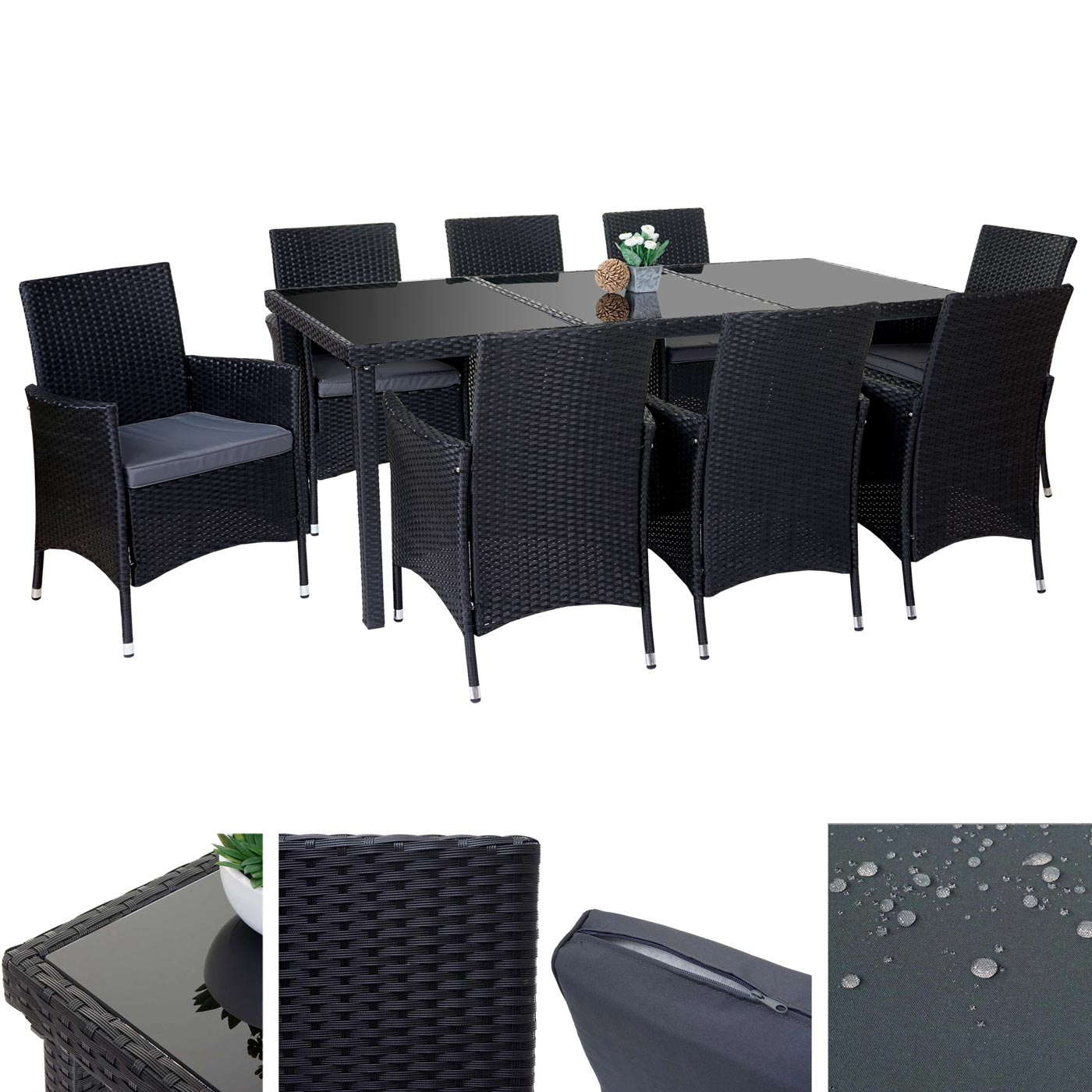 poly rattan garnitur terni garten sitzgruppe tisch 8 sessel alu anthrazit kissen grau. Black Bedroom Furniture Sets. Home Design Ideas