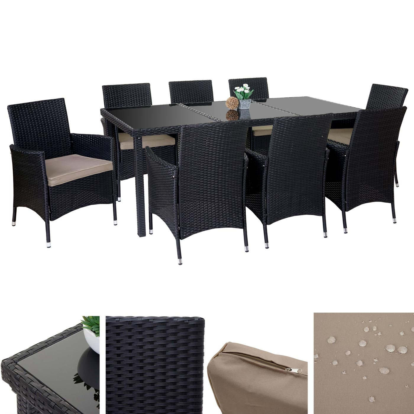 poly rattan garnitur terni garten sitzgruppe tisch 8 sessel alu anthrazit kissen beige. Black Bedroom Furniture Sets. Home Design Ideas