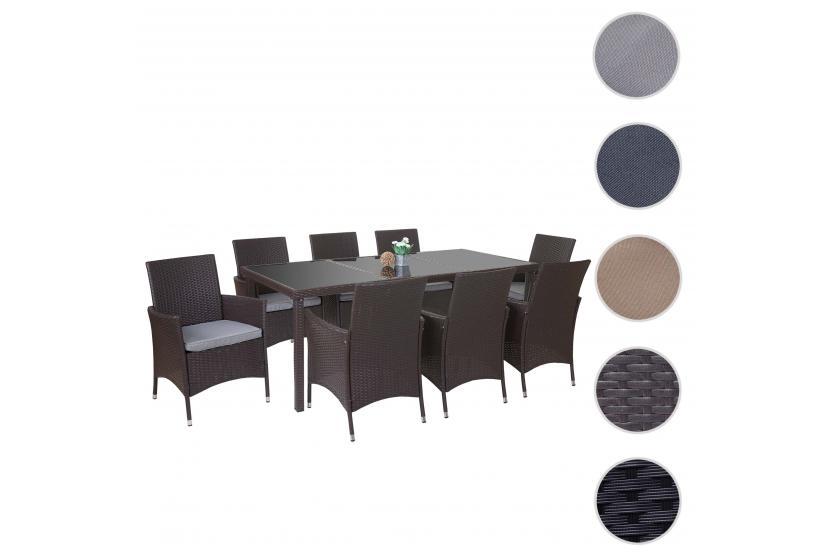 Poly Rattan Garnitur Terni Garten Sitzgruppe Tisch 8 Sessel Alu