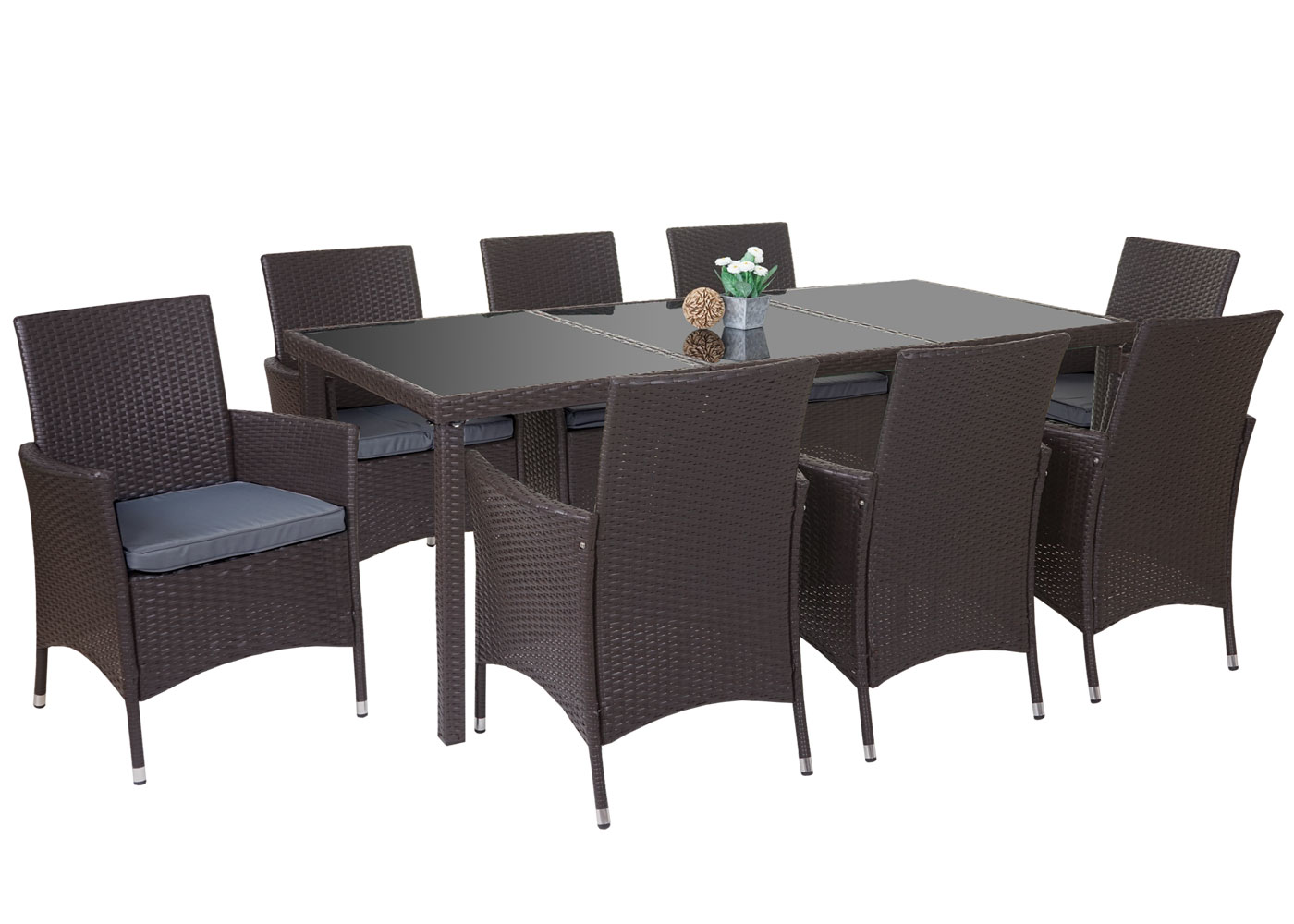 poly rattan garnitur terni garten sitzgruppe tisch 8 sessel alu braun kissen grau. Black Bedroom Furniture Sets. Home Design Ideas