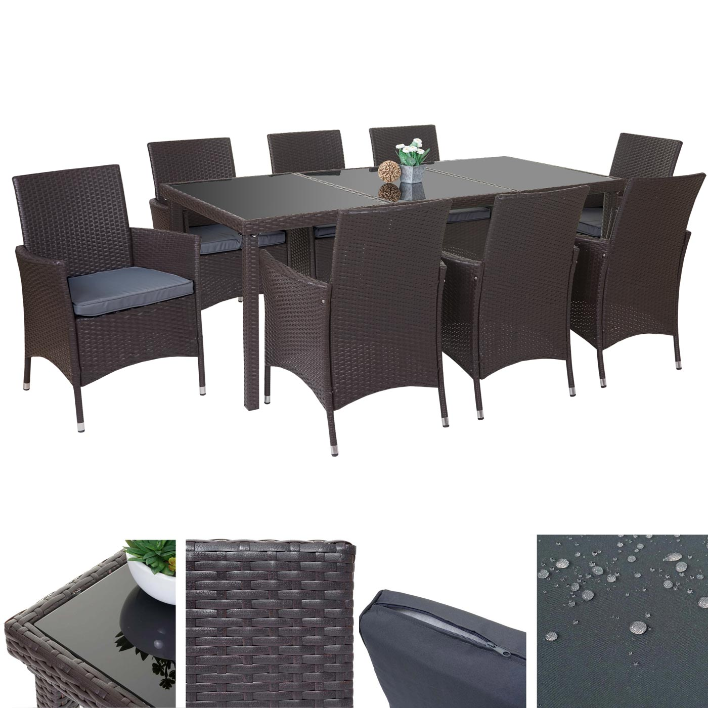 poly rattan garnitur terni garten sitzgruppe tisch 8 sessel alu braun kissen grau. Black Bedroom Furniture Sets. Home Design Ideas