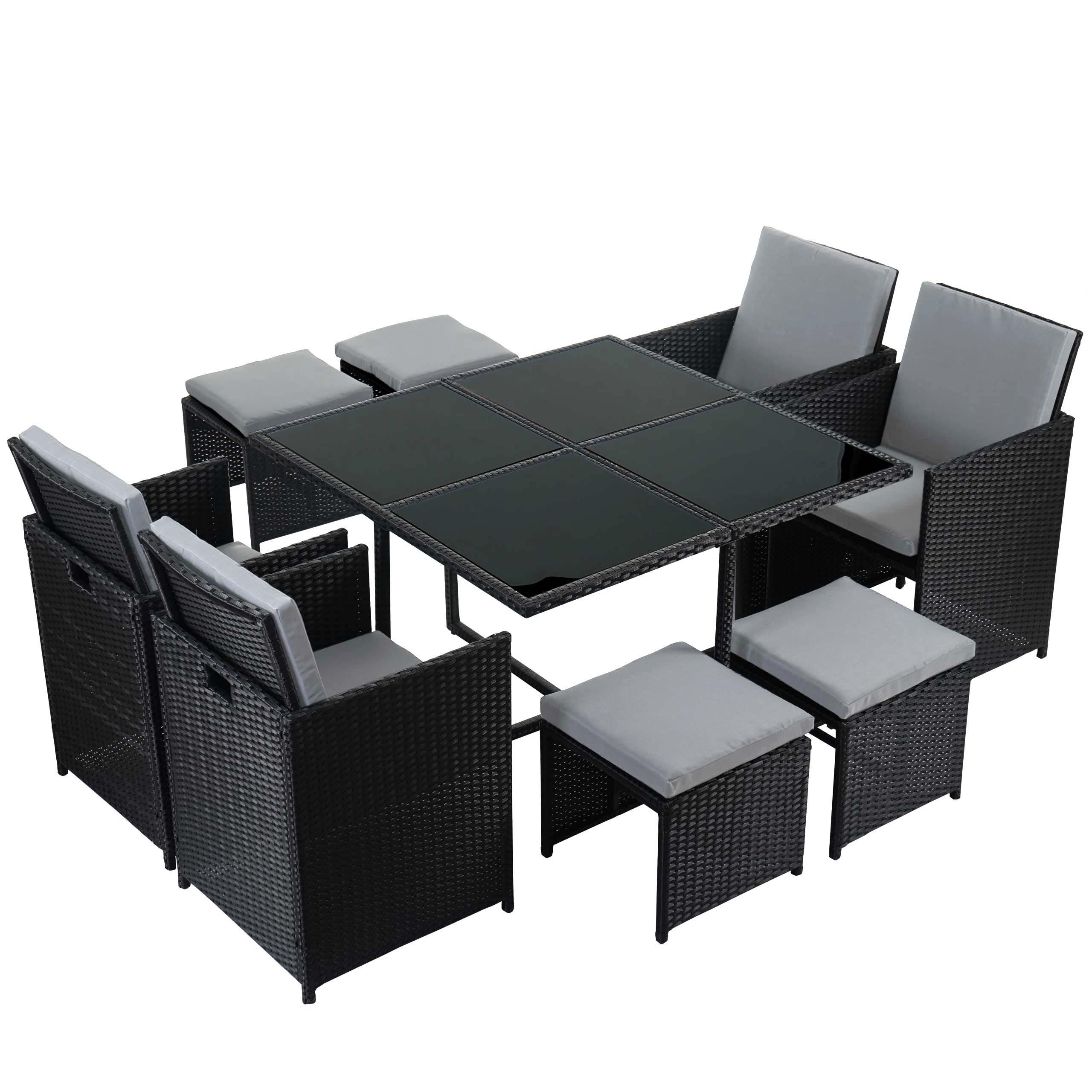 poly rattan garten garnitur kreta lounge set sitzgruppe 4 st hle schwarz kissen hellgrau. Black Bedroom Furniture Sets. Home Design Ideas