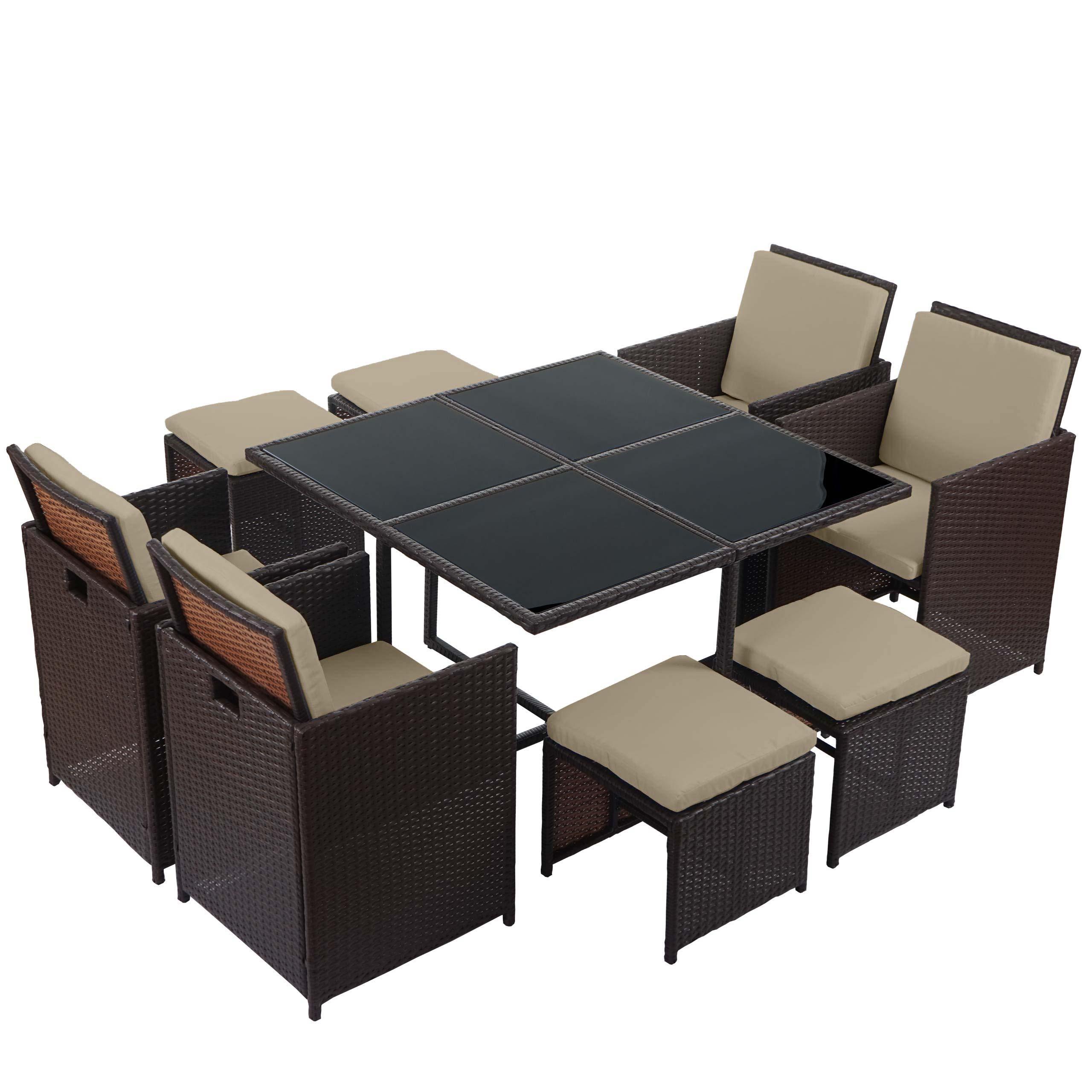 poly rattan garten garnitur kreta lounge set sitzgruppe 4 st hle braun kissen beige. Black Bedroom Furniture Sets. Home Design Ideas