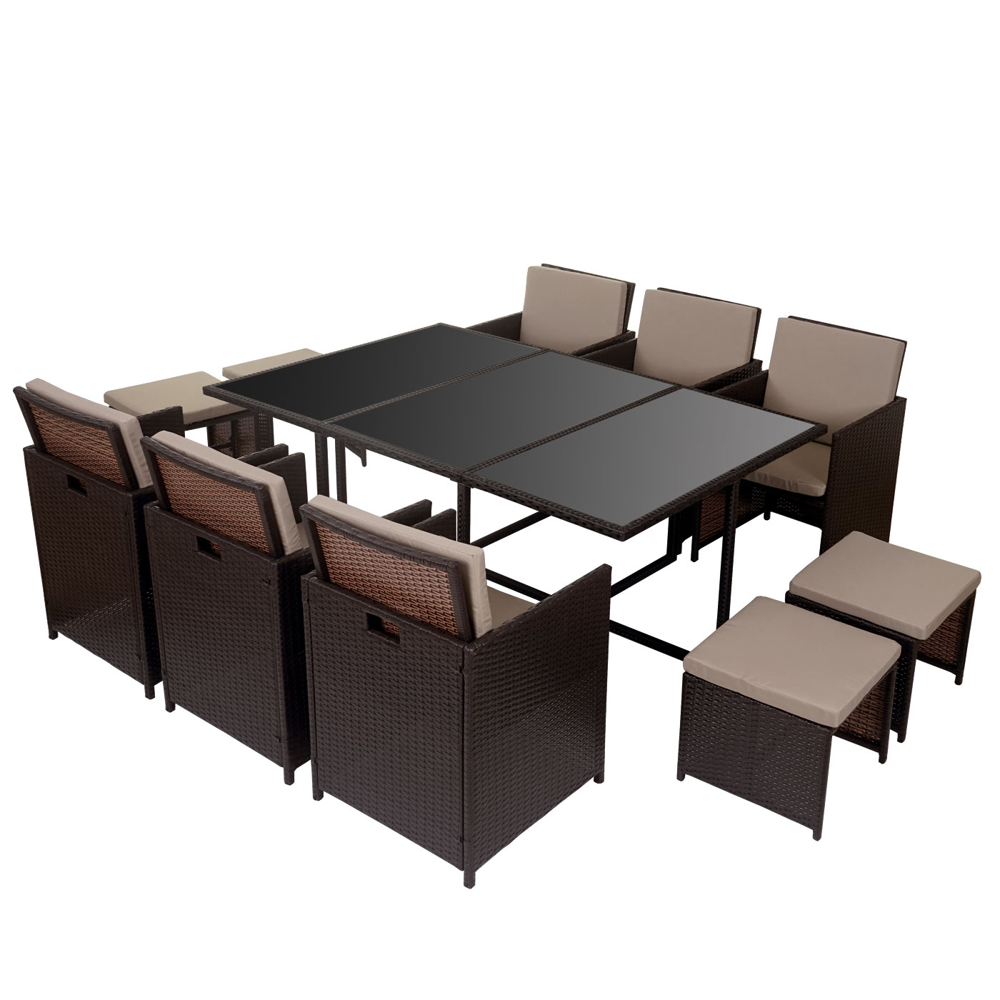poly rattan garten garnitur kreta lounge set sitzgruppe 10 sitzpl tze braun kissen beige. Black Bedroom Furniture Sets. Home Design Ideas