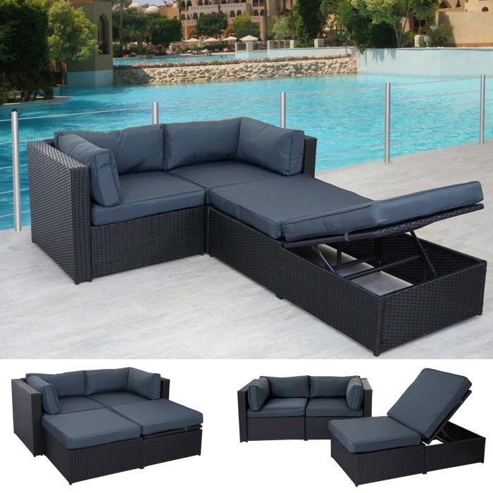 Rattan-Garnitur Adana, Gartengarnitur Sitzgruppe Lounge-Set, Alu ...