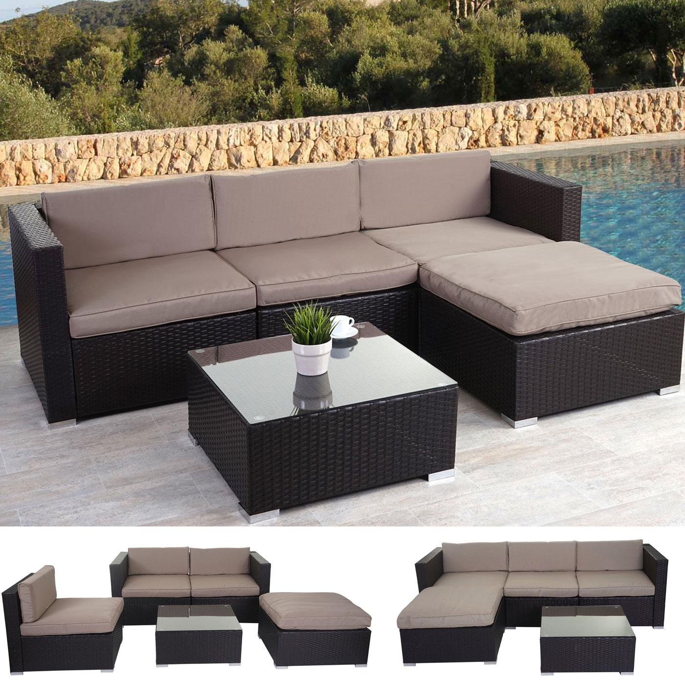 poly rattan garnitur brindisi gartengarnitur sitzgruppe lounge set braun kissen beige. Black Bedroom Furniture Sets. Home Design Ideas