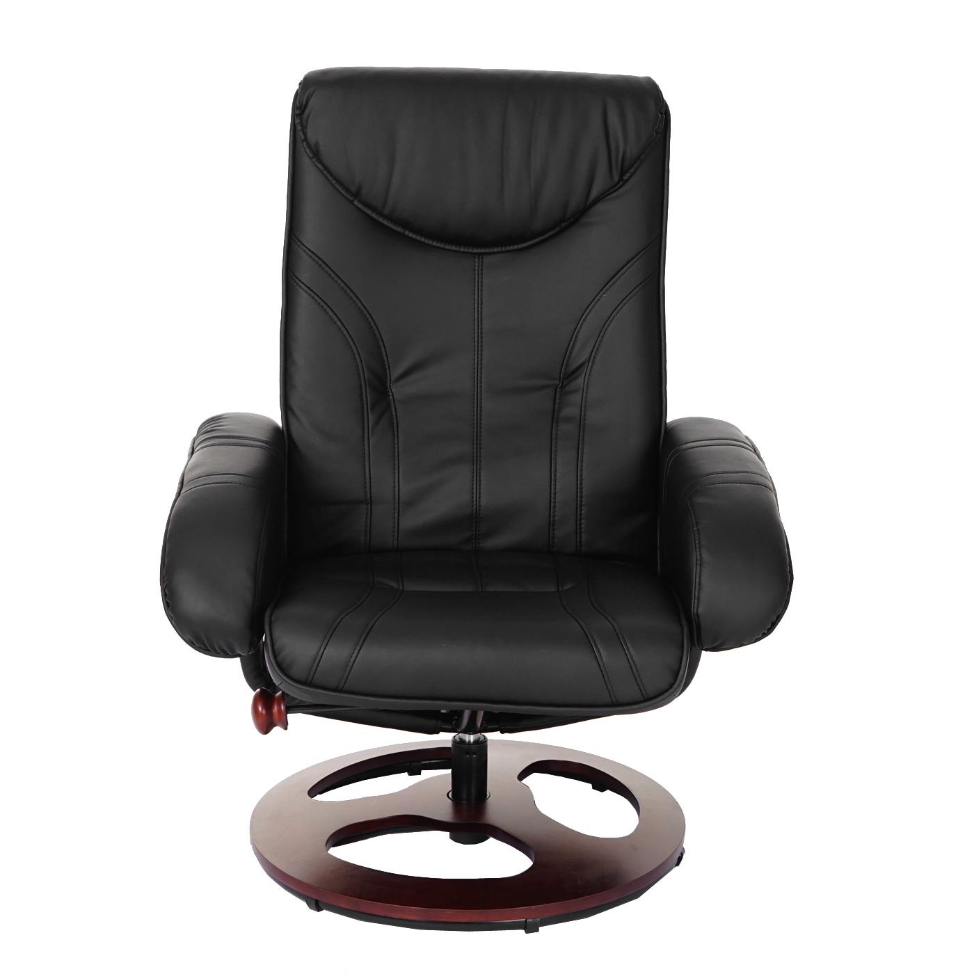 relaxsessel bury fernsehsessel sessel mit hocker kunstleder schwarz ebay. Black Bedroom Furniture Sets. Home Design Ideas