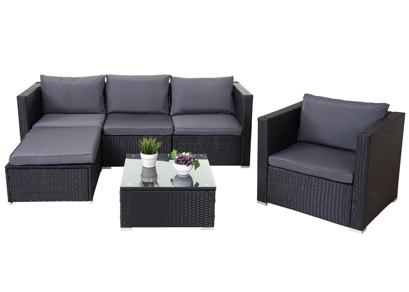 poly rattan garnitur brescia gartengarnitur sitzgruppe lounge set grau schwarz ebay. Black Bedroom Furniture Sets. Home Design Ideas