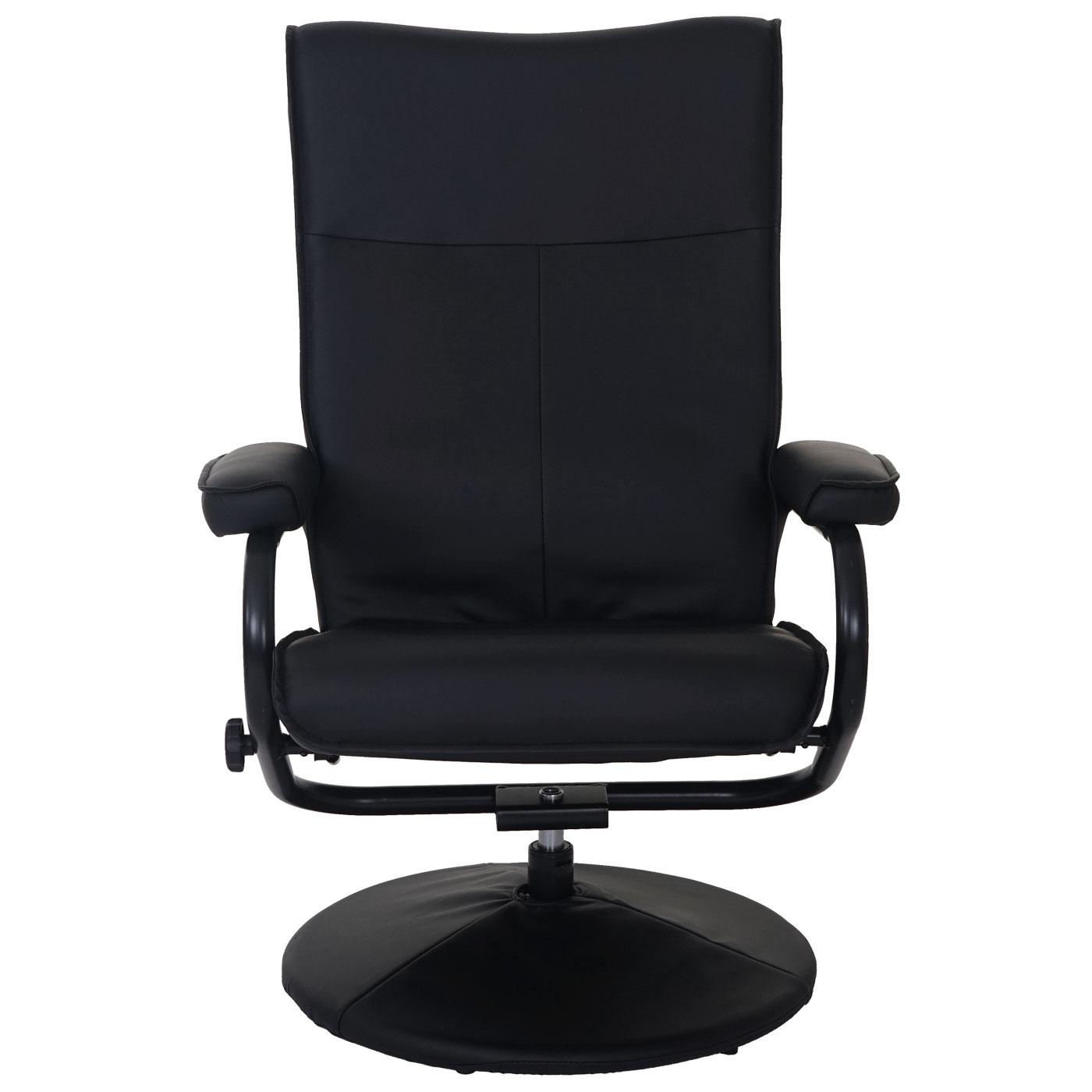 fauteuil relax leeds fauteuil de t l vision avec tabouret similicuir noir ebay. Black Bedroom Furniture Sets. Home Design Ideas