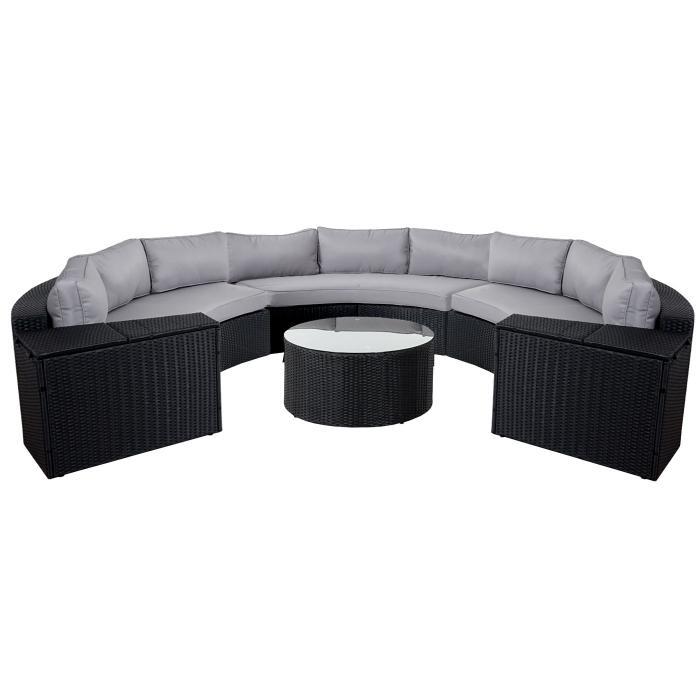 Rattan lounge halbrund  Luxus Poly-Rattan-Garnitur Savoie, Sitzgruppe Lounge-Set, XXL rund ...