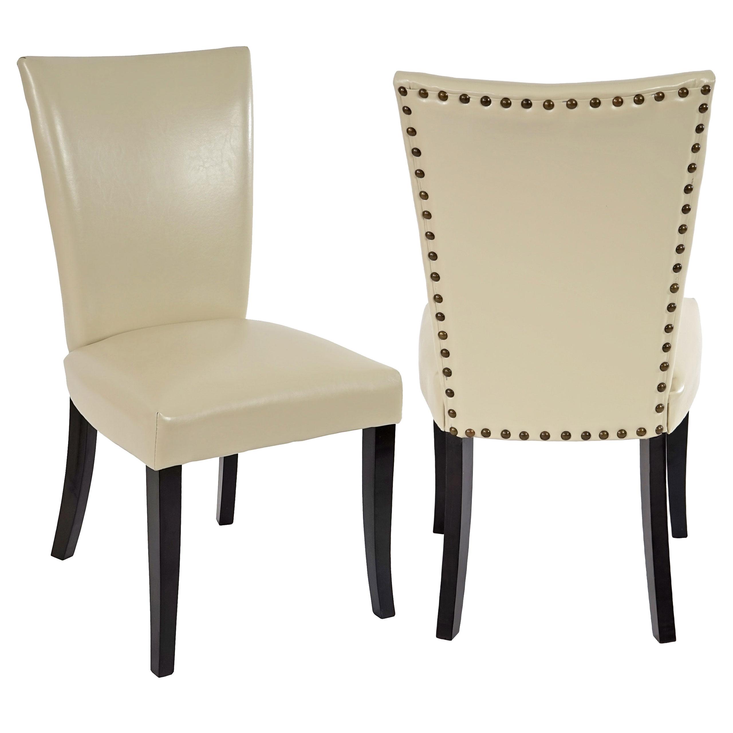 2x esszimmerstuhl chesterfield stuhl lehnstuhl nieten kunstleder creme dunkle beine. Black Bedroom Furniture Sets. Home Design Ideas