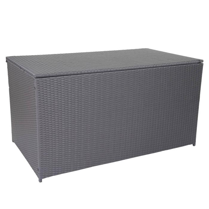 Innovativ Rattan Kissenbox Barry, Truhe Auflagenbox Gartenbox, 290l ~ grau FO29