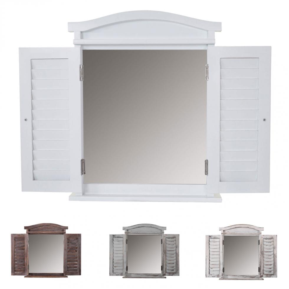 wandspiegel spiegelfenster mit fensterl den 53x42x5cm. Black Bedroom Furniture Sets. Home Design Ideas