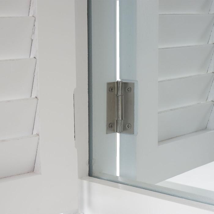 wandspiegel spiegelfenster mit fensterl den 53x42x5cm wei lackiert. Black Bedroom Furniture Sets. Home Design Ideas