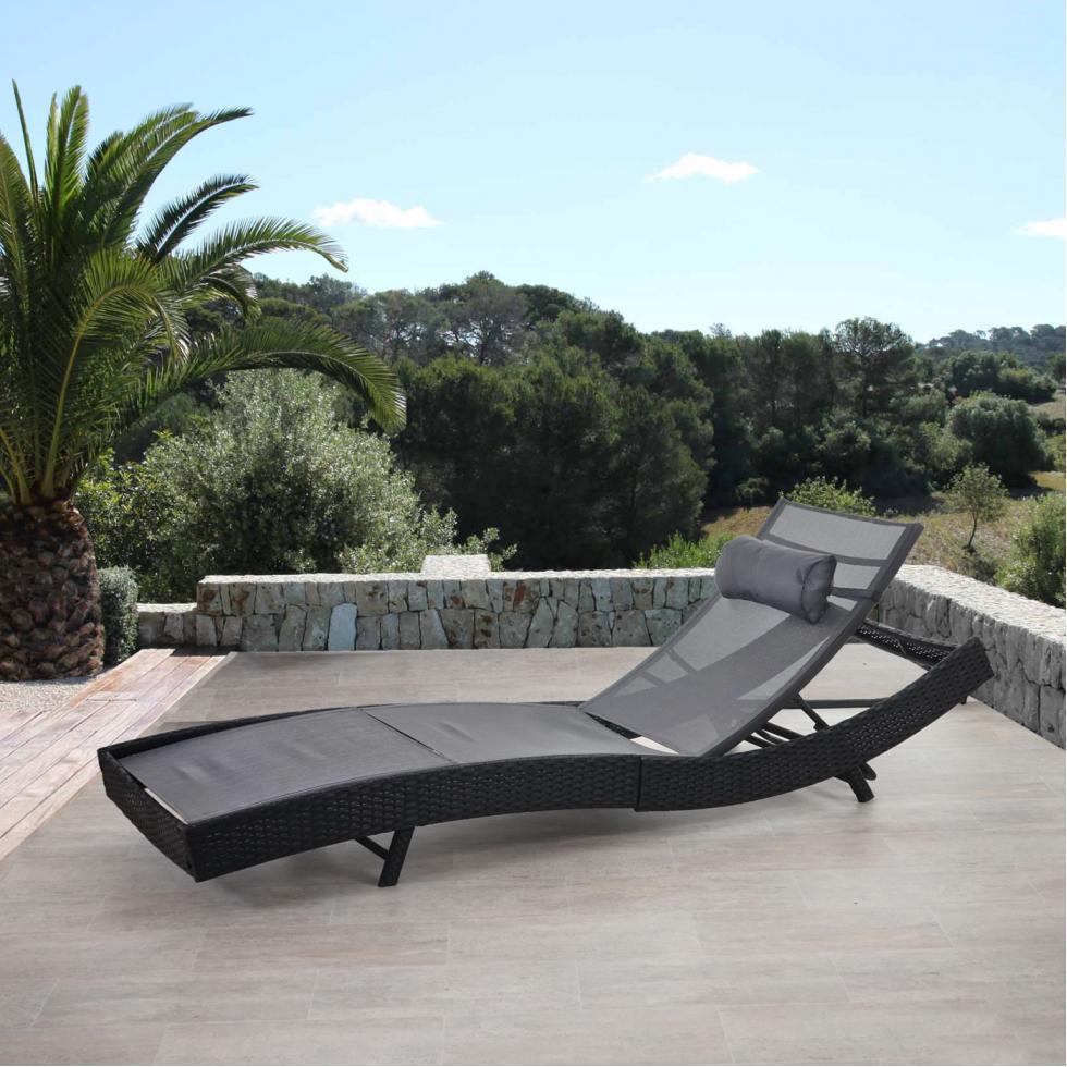 Uberlegen Sonnenliege Savannah, Relaxliege Gartenliege Liege, Poly Rattan ~ Anthrazit,  Bezug Grau