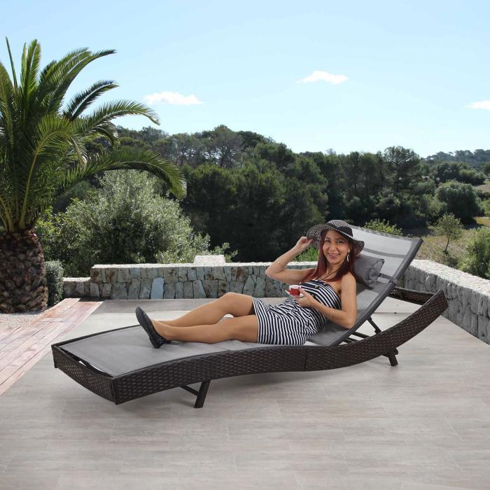Gartenliege rattan grau  Sonnenliege Savannah, Relaxliege Gartenliege Liege, Poly-Rattan ...