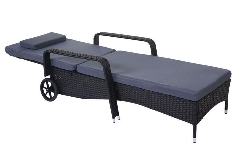 poly rattan sonnenliege carrara relaxliege gartenliege liege alu anthrazit kissen grau. Black Bedroom Furniture Sets. Home Design Ideas