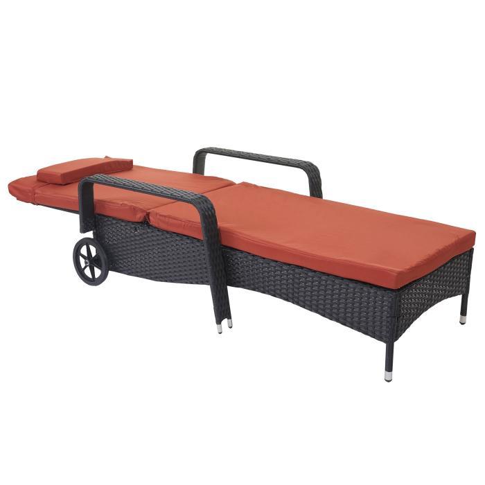 poly rattan sonnenliege carrara relaxliege gartenliege liege alu anthrazit kissen terrakotta. Black Bedroom Furniture Sets. Home Design Ideas