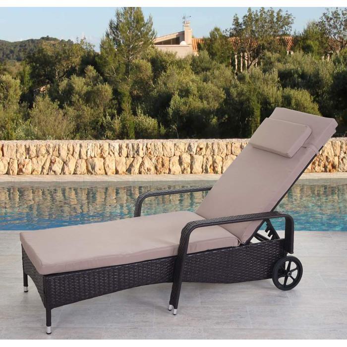 Wunderbar Poly Rattan Sonnenliege Carrara, Relaxliege Gartenliege Liege, Alu ~ Braun,  Kissen Beige
