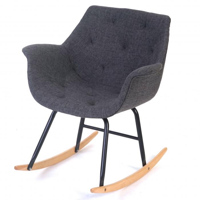 Schaukelstuhl Malmö T820 Schwingsessel Relaxsessel Textil Grau